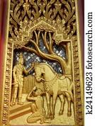 免版税(rf)类图片 - 树木雕刻, 泰国人, 佛, 故事, 艺术
