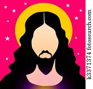 Drawing of Side profile of Jesus Christ praying u10403323 ...
