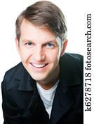 肖像, 在中, 好, 微笑, 年轻人, 带, 蓝色眼睛, 同时,, 亲切友好图片
