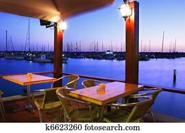 免版税(rf)类图片 - 小游艇船坞, 日落
