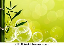 摘要, 东方, spa, 背景, 带, 竹子, 同时,, 水, 气泡