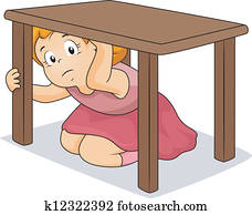女孩, 掩藏, 在下面, 桌子图片