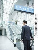 观看a_a, 商人, 观看, 带, a, 行李, 在中, a, incheon, 机场