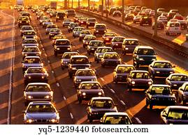 Highway 401 traffic in Toronto, Ontario, Canada Stock Photo