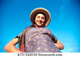 9e0611b549fd4 Stock Photo of Woman wearing beret in summer in forest c53-454764 ...