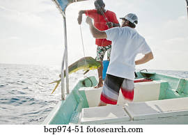 Two men on charter fishing boat