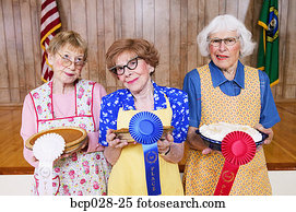 Women with prizes for homemade pies