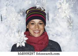junge frau, in, winter wonderland