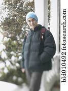 teenagerjunge, auf, a, winterbilder, tag