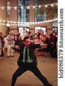 Man dancing at wedding reception