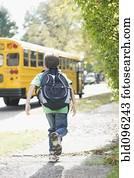 kaukasisches, junge betrieb, schule, bus