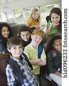 kindern, reiten schule, bus