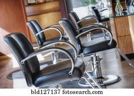 Chairs in empty beauty salon