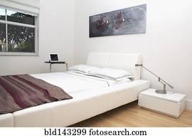 Slaapkamer Met Kunstmuur : Stock afbeelding bed en muur kunst in hippe slaapkamer
