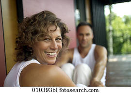 woman smiling on blurred background