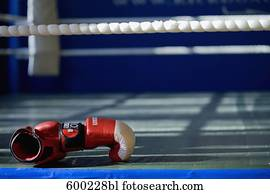 still life of boxing gloves lying ringside at gym