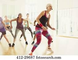 energisch, gesundheit lehrer, führen, aerobik, klasse