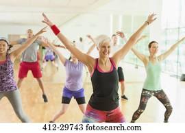gesundheit lehrer, führen, aerobik, klasse