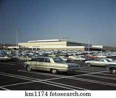 Stock Photo Of 1950s Shopping Center Parking Lot B2032