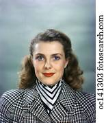 3a45e41398c 1950S Smiling Brunette Woman Wearing Silk Head Scarf Babushka Stock ...
