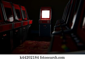 Arcade Aisle With One Illuminated