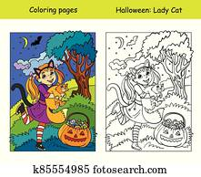 Coloring with colored example Halloween girl with cat