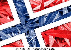 Norway Flag on cannabis background. Drug policy. Legalization of marijuana