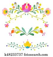 Watercolor abstract vector flowers