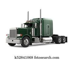 Jungle green big semi - trailer truck