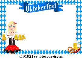 Oktoberfest frame - waitress holding beer