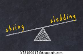 Chalk board sketch of scales. Concept of balance between skiing and sledding