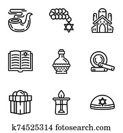 Judaism icon set, outline style