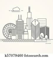 Linear illustration of Chicago, US.