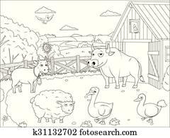 ausmalbilder, landwirt, thema, 1 clipart | k16323164