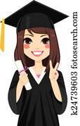 Brunette Graduation Girl