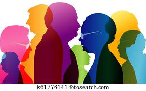 Dialogue between old people. Group of old people talking. Conversation in mature age. Colored silhouette profile. Multiple exposure