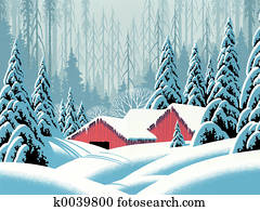 Snow Scene Barns
