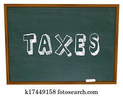 Tax Word Chalk Board Fiancial Money Lesson Taxes Advice