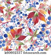 Watercolor red grapes leaves. Leaf plant botanical garden floral foliage. Seamless background pattern.