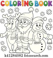 Christmas Coloring Book Clipart EPS Bilder. 4.752 christmas coloring ...