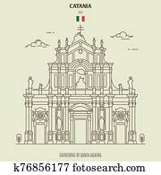 Cathedral of Santa Agatha in Catania, Italy. Landmark icon