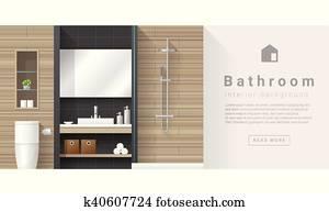Interior design Modern bathroom background 3
