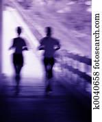 Running couple blur
