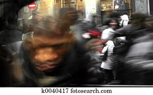 Running crowd blur