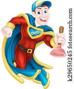 superhero, taucher, mann