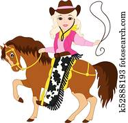 Vector Beautiful Young Cowgirl Riding a Horse