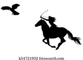 γυναίκα ιππασία μεγάλο πουλί