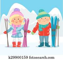 Cartoon people - Couple with skis