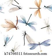 aquarell, vektor, summer, libelle, insekt, bunt, seamless, muster