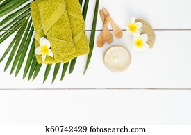 Beauty background with facial cosmetic products